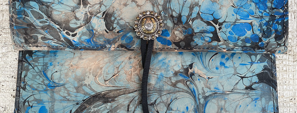 Marbled Leather Clutch Sky Blue/Black