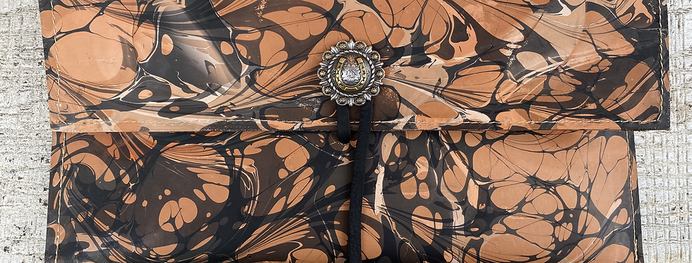 Marbled Leather Clutch Black/Brown