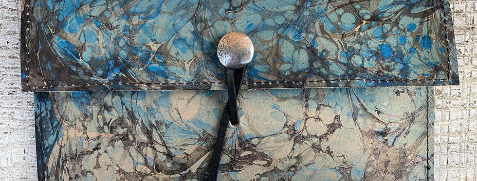Marbled Leather Wallet Sky Blue/Black