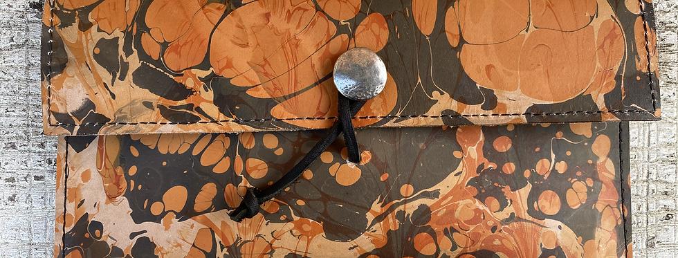Marbled Leather Wallet Terre-Cotta/Black