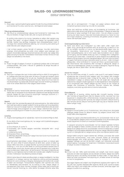 Salgs- og leveringsbetingelser for Colour Ceramica A/S