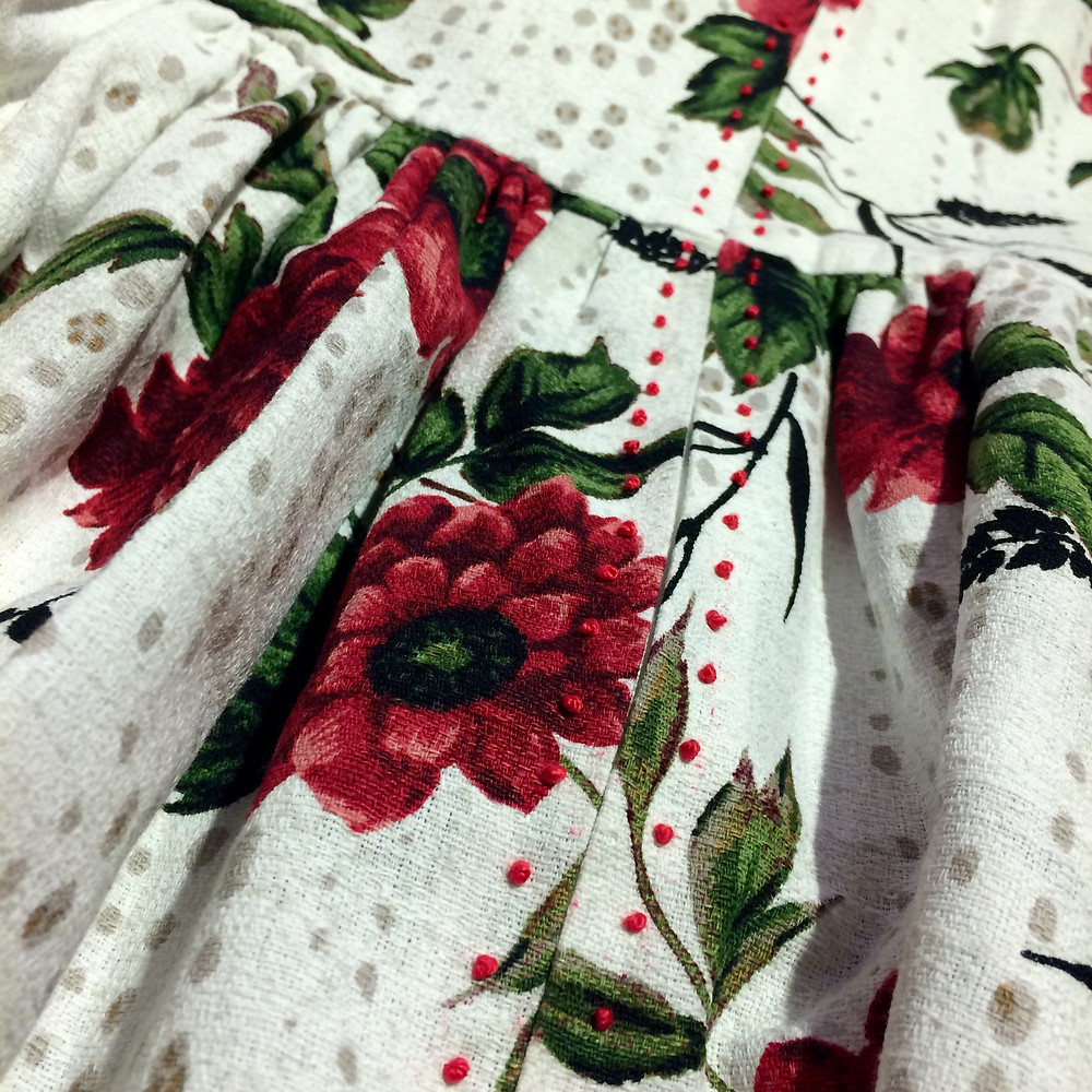 hand-sewn french knots on outback wife barkcloth by gertrude made