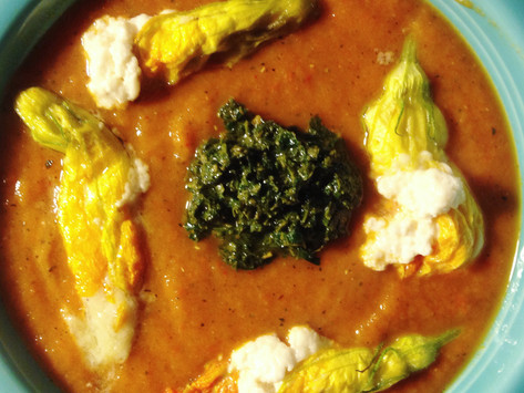 Summer Produce Soup w/ Stuffed Squash Blossoms