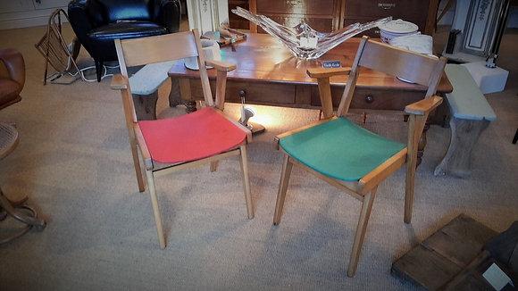 Duo de fauteuils bridge années 50