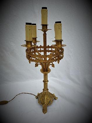 Lampe cierge bronze fin XIXème