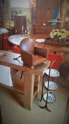 Petit fauteuil club en cuir vintage