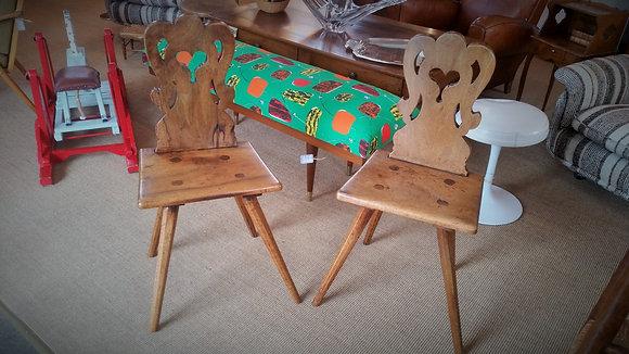 Paire de chaises alsaciennes XIXème