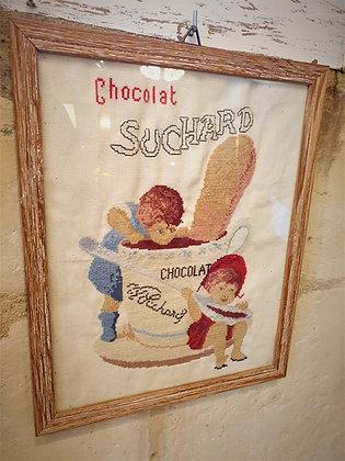 Affiche publicitaire tissu chocolat suchard vintage
