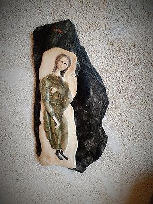Vierge porcelaine sur ardoise années 50