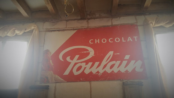 Grande plaque métal chocolat Poulain vintage