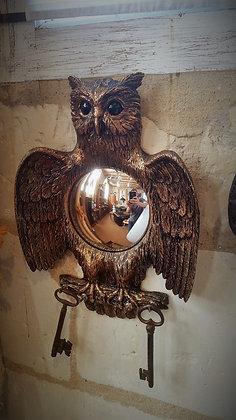 Miroir sorcière vintage hibou et porte clés