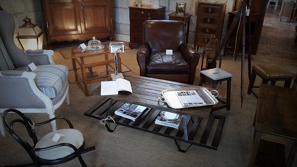 Table basse en métal et bois XXème