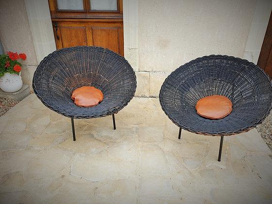 Paire de fauteuils sunflower années 60