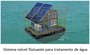 Sistema flutuante para tratamento de água