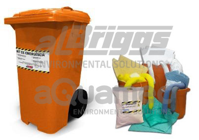 Os spill kits são fornecidos em embalagens diversas, como sacolas, baldes ou contêiner com rodas
