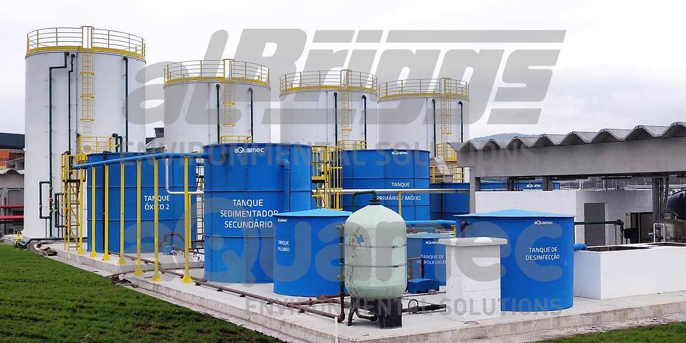Sistema com processo MBBR para tratamento de efluentes
