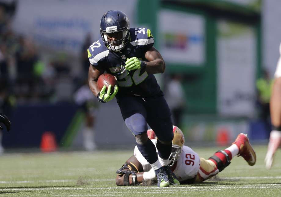 Christine Michael breaks away for another long run against the 49ers. AP Photo/John Froschauer