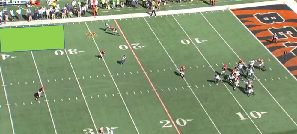 Russell lofts this ball a little much to the outside forcing Lockett to adjust.
