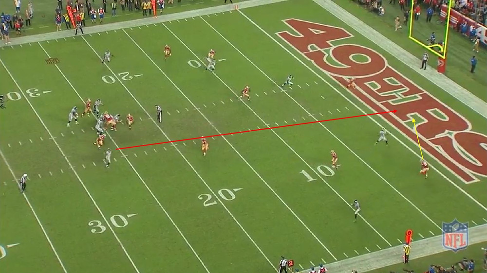 Russell tries to thread the ball to Baldwin but does not see Brock lurking.