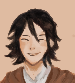 Smiley face of a young man