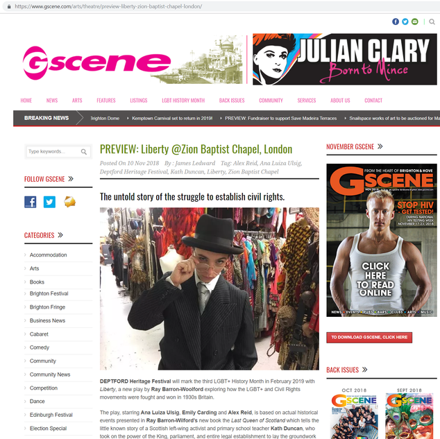 """Gscene on the play """"Liberty"""""""