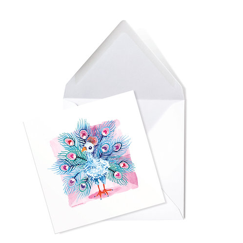 PEACOCK | x50 printed cards (14 x 14cms)