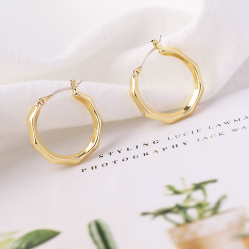 Hexagon Design Hoop Earrings