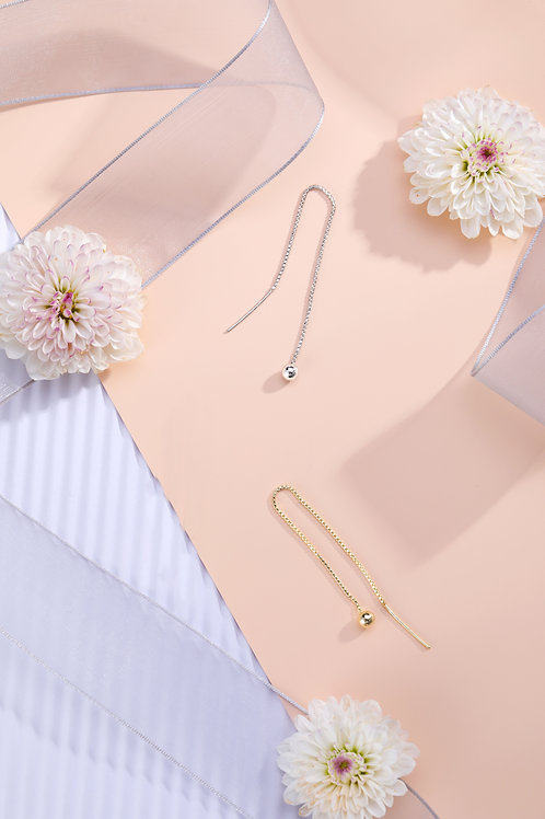 Ball Thread earrings, yellow gold and white gold