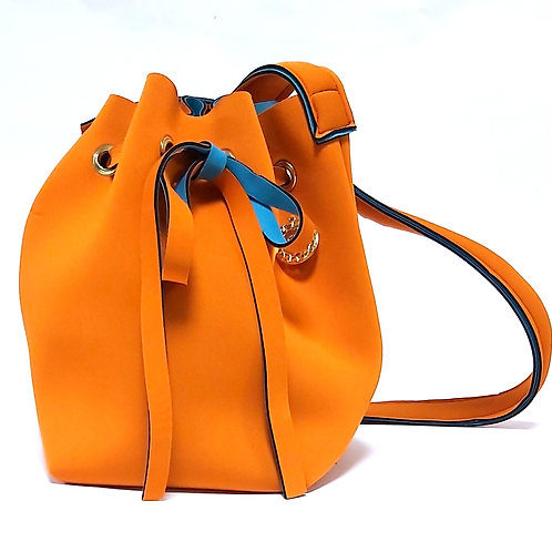 Orange Neoprene Bucket Bag Front