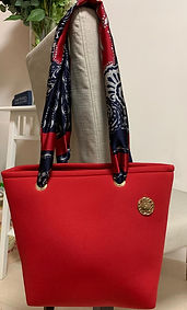y2squared/Neoprene Tote Bag/Red handbag/ultra lightweight/stunning scraf handles