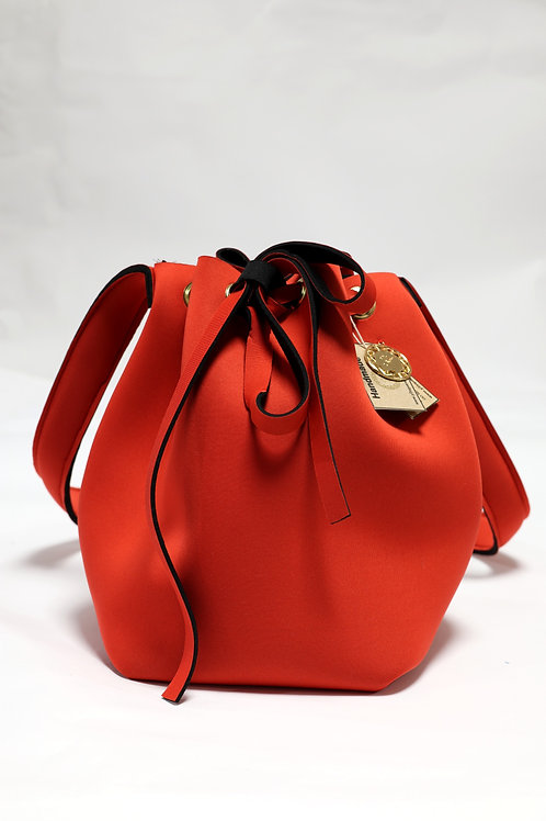 Red Neoprene Bucket Bag Front