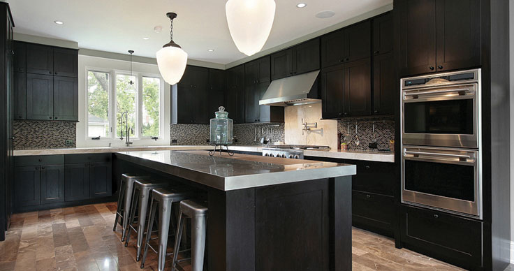 six square dark kitchen