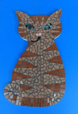 Frankie - mosaic cat wall art