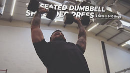 Man performing the shoulder press exercise with the gym weights over his head