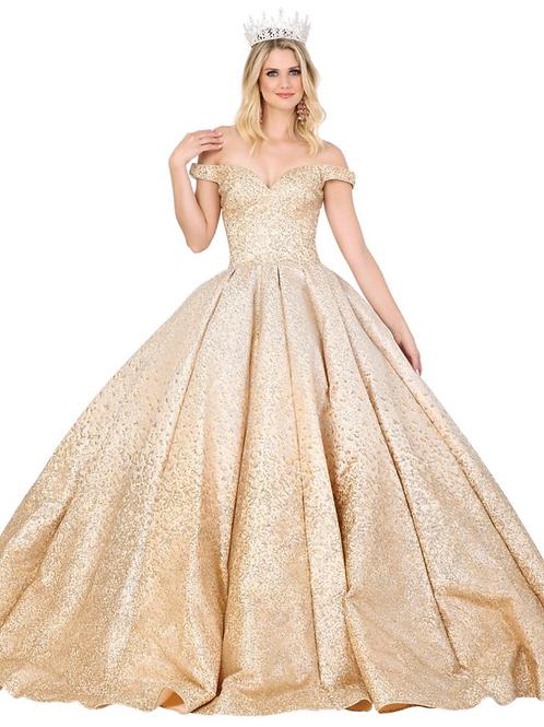 Mod.1413 Vestido champagne escarchado dorado, offshoulder.