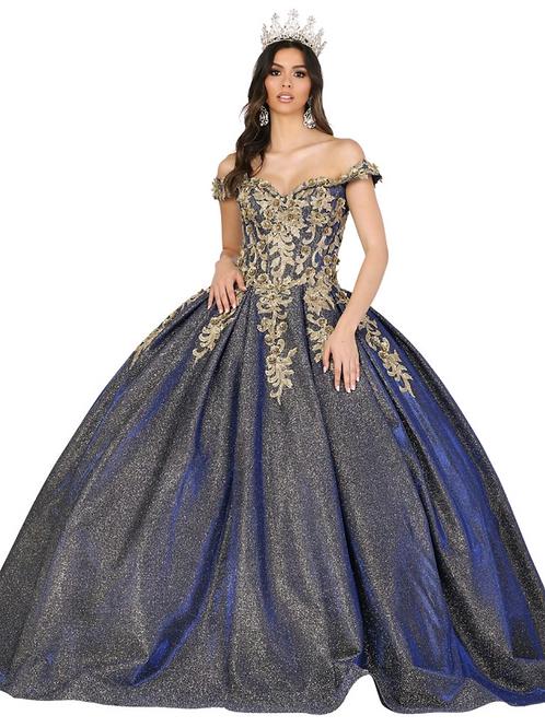 Mod.1504 Vestido Royal blue y oro.