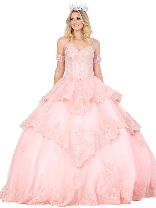 Mod.1404 Vestido rosa, escote corazón, offshoulder, falda olanes con encaje.
