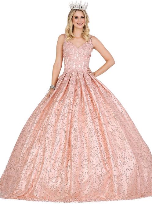 Mod.1412 Vestido Rose gold falda atablonada, flores 3d, glitter.