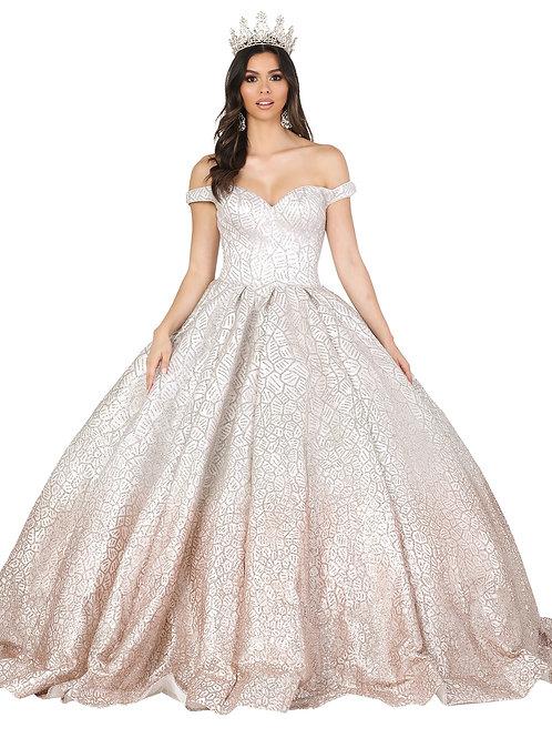 Vestido silver gold, diseño tipo kraquelado, offshoulder, falda atablonada.