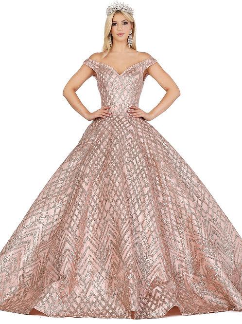 Vestido rose gold top y falda glitter, escote corazón, offshoulder.