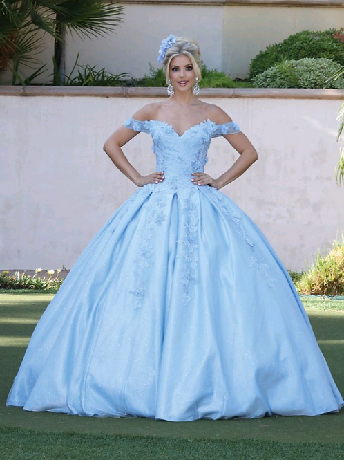 Vestido Bahama blue, escote corazón offshoulder, detalles 3D