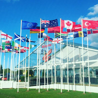 International flagpoles at event