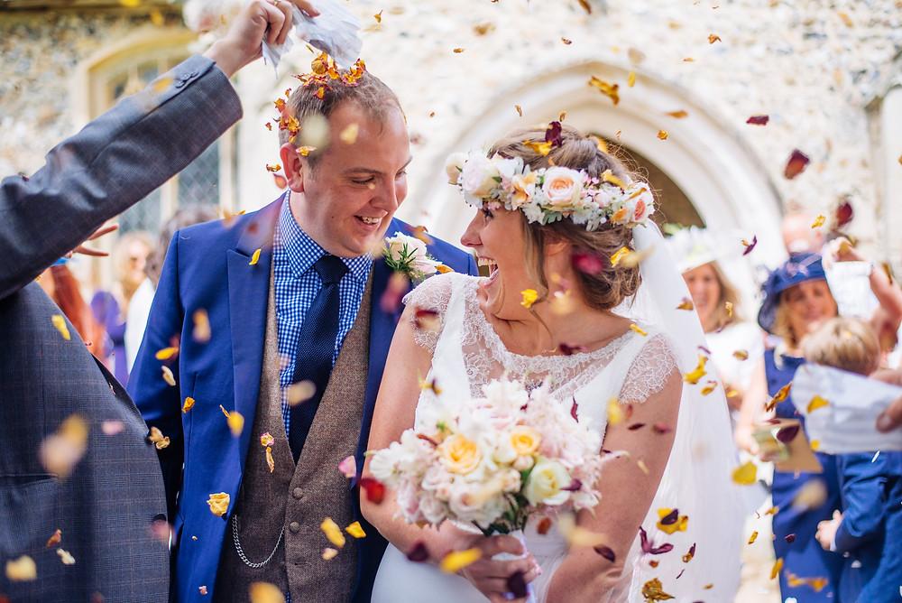 Wedding confetti photo in high roding