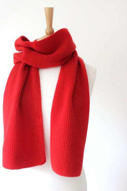 Red Cashmere Rib Scarf