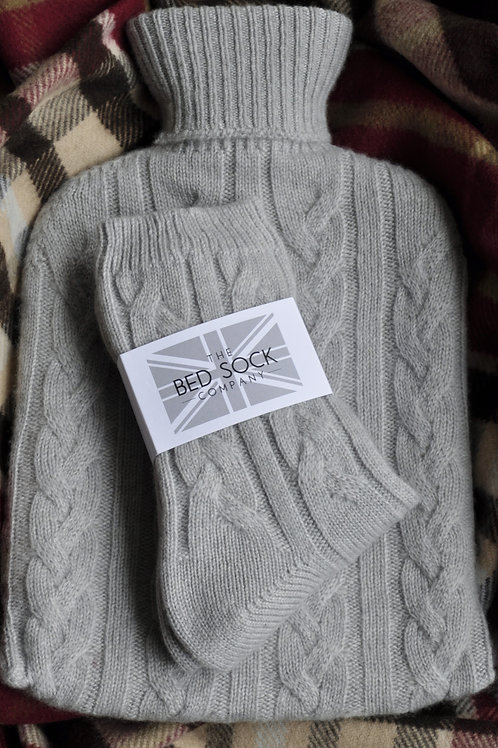 Pale Grey Cashmere Hotwater Bottle & Bedsock Set