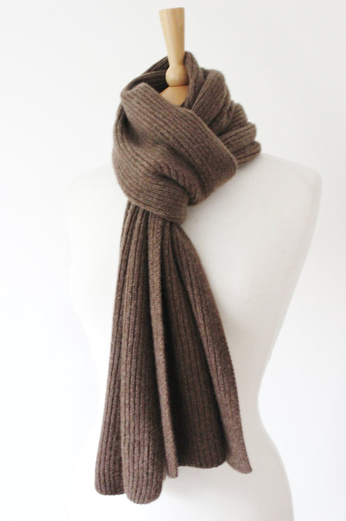 Taupe Cashmere Rib Scarf