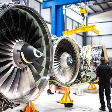 Jet engines in workshop