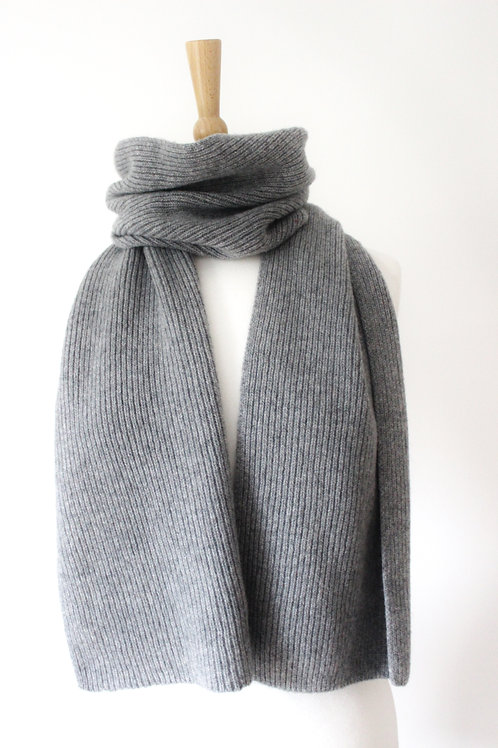 Pale Grey Cashmere Rib Scarf