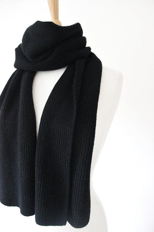 Black Cashmere Rib Scarf
