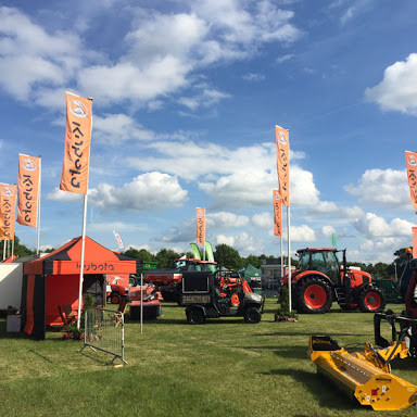 Kubota branded flags on flagpoles